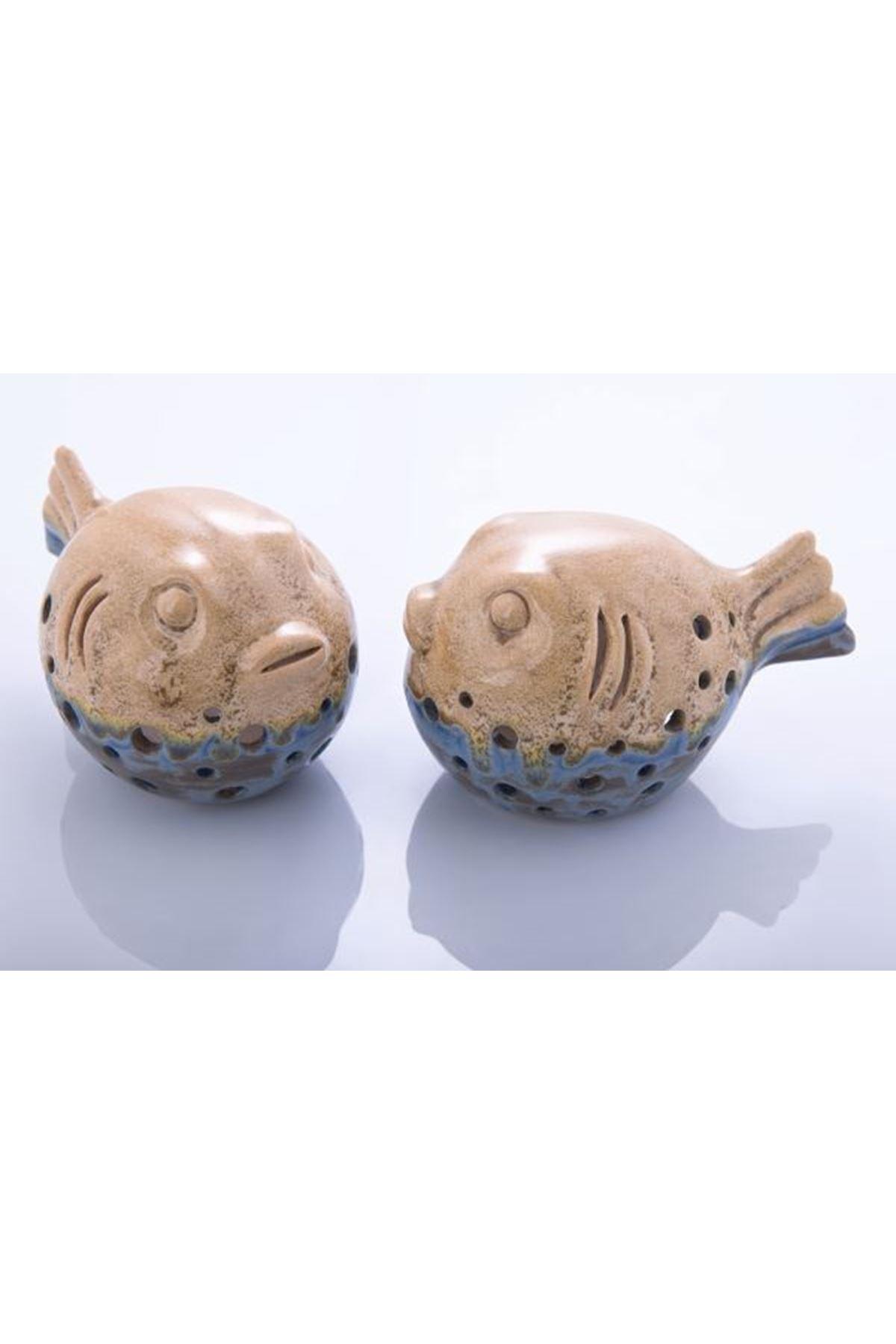 Balon Balığı Eskitme Iki Renk Mavi Sarı